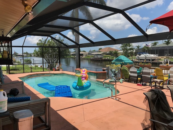 Panoramic view screen enclosure on SE 1st Pl, Cape Coral, FL 33904