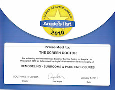 Angie's List 2010 Super Service Award Remodeling - Sunrooms & Patio Enclosures